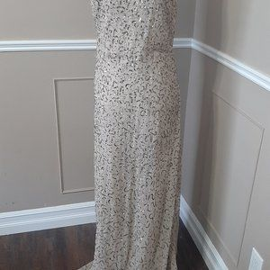 DEBUT - Lined Gold sequin gown/prom dress.